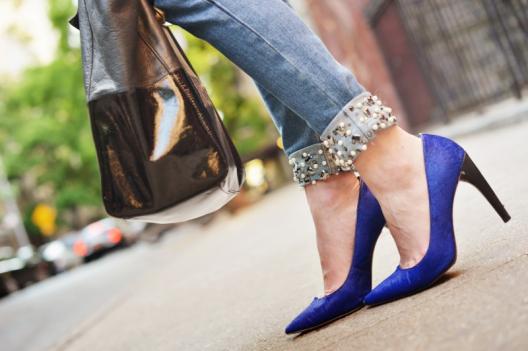 embellished jean heels