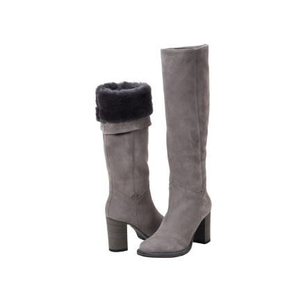 Ross & Snow Michela Boot in gray - knee high style boot with shearling-lined interior
